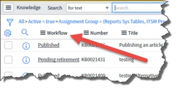 Knowledge search screen with arrow pointing towards Workflow column.