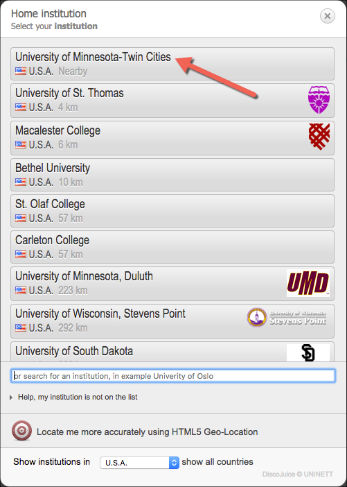 University of Minnesota- Twin Cities in the list of available institutions