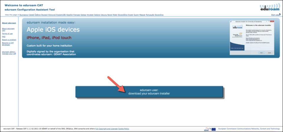 A screenshot highlighting the location of the button for eduroam user: download your eduroam installer at cat.eduroam.org