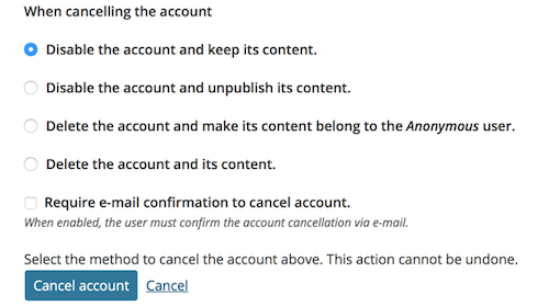 the list of options when choosing to cancel an account.