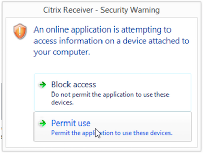 the citrix security warning permit use option