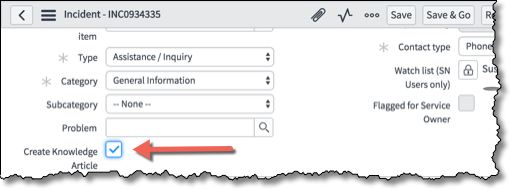 Incident form with arrow pointing to Create Knowledge Article checkbox.