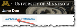 Moodle banner with Dashboard link highlighted.