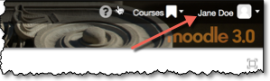 Moodle banner with user name highlighted.