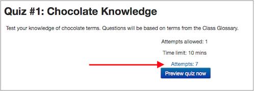 View quiz attempts link.