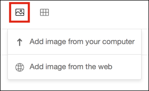 Insert Image icon with drop-down menu expanded.