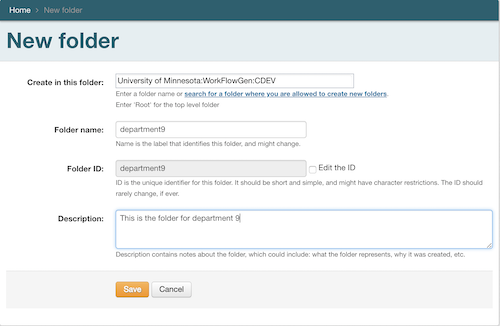 Create new folder interface