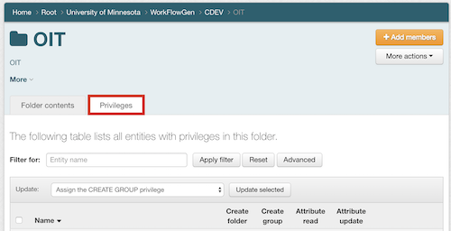 The Privileges tab highlighted