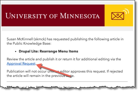 Email of an Approval Request with an arrow pointing towards the link for Approval Request.