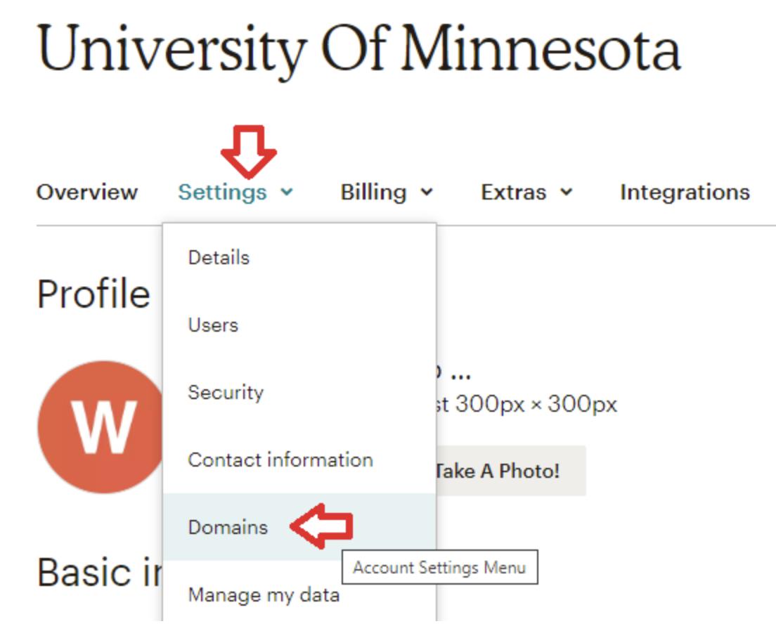 Account Settings Menu selected, then Domains selected.
