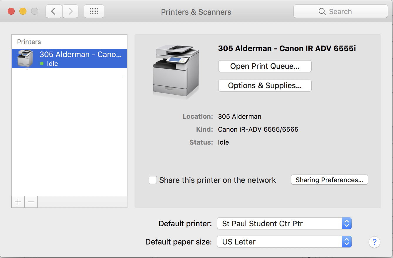 The Printers & Scanners pane is opened in the System Preferences application. The 305 Alderman Canon printer is selected in the list of printers.