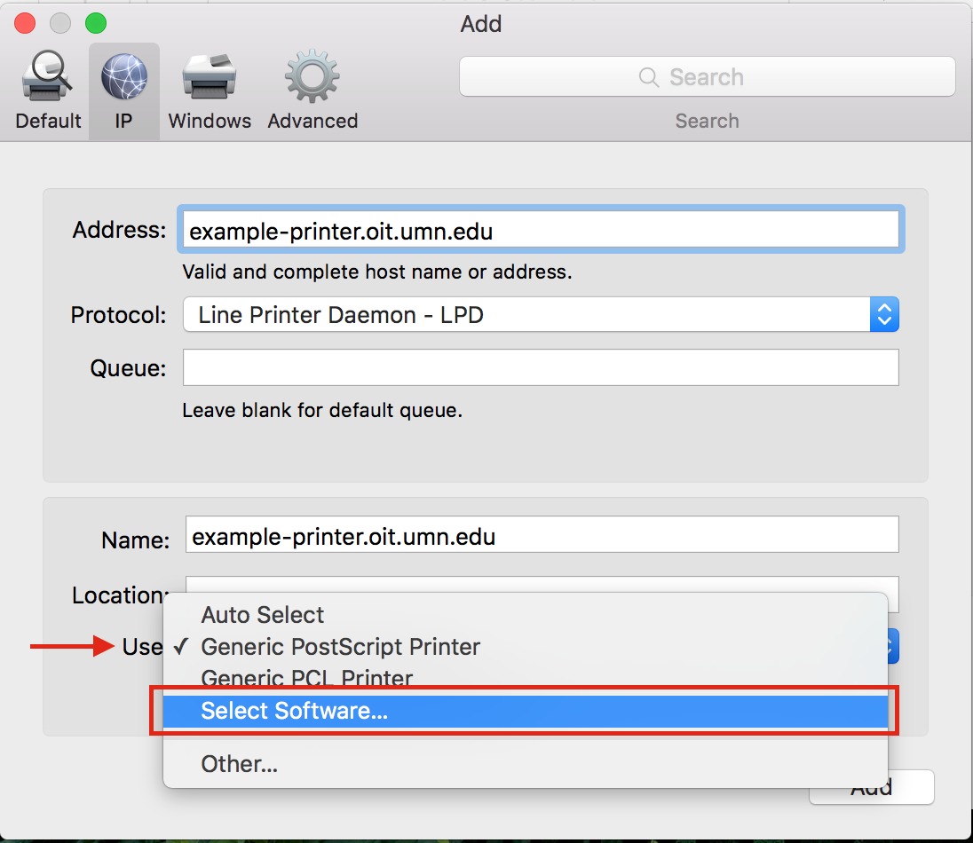 """The address field has """"example-printer.oit.umn.edu"""" entered into the field. The Protocol dropdown menu is set to """"Line Printer Daemon - LPD"""" and the Queue field is blank. The Name field is set to example-printer.oit-umn.edu. The Location field is blank. The """"Use"""" dropdown is opened/selected and the """"Select Software"""" option is highlighted and being selected."""