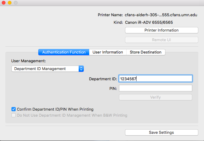 """The Canon printer options window is opened as a separate window from System Preferences. The first tab """"Authentication Functions"""" is highlighted. User Management is set to """"Department ID Management"""" and the Department ID is filled in with an example ID. The PIN field is blank."""