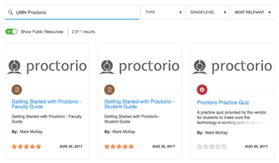 A screenshot of the UMN Proctorio items in the search results of Canvas Commons