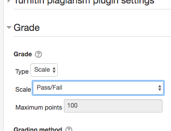 Course settings, grade options, grade type scale with Scale name highlighted