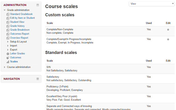 Course scales, custom scales and standard scales visible