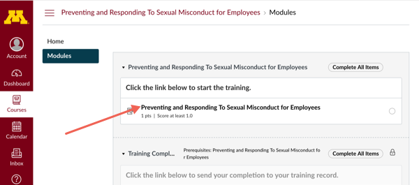 Training site page with arrow pointing to Preventing and Responding to Sexual Misconduct link