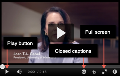 Video detail with arrows highlighting Play button, Closed Captions button, and Full Screen button