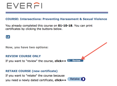 Everfi screen showing option to Review training.