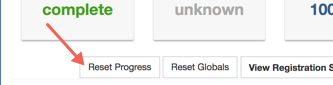 Arrow pointing towards the Reset Progress button