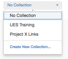 the select collection drop down showing the list of my collections.