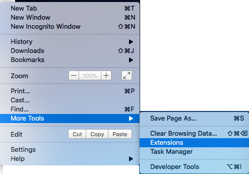 Menu path to extensions.