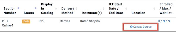 the section table on the course page in training hub showing one section and the canvas course link is highlighted.