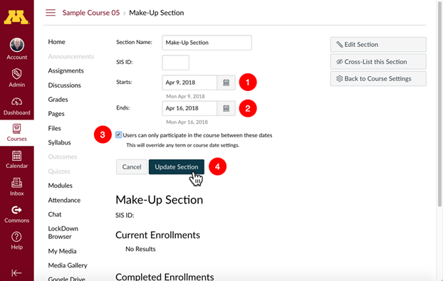 Edit Course Section Details; Starts and Ends date fields, User can only participate check box, and Update section button highlighted