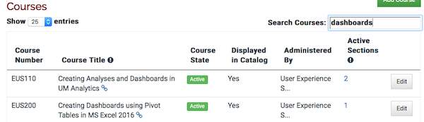 the courses table filtered to only show a few courses.