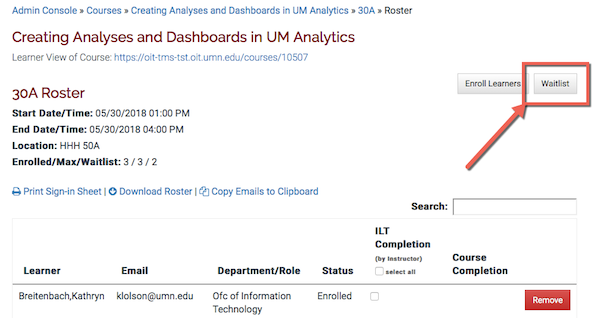 the waitlist button highlighted on a section roster page.