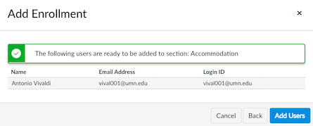Add enrollment confirmation window, Add Users button highlighted
