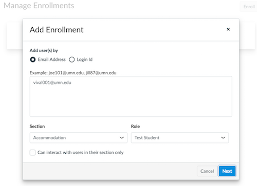Add enrollment window, Add users by email address option selected,