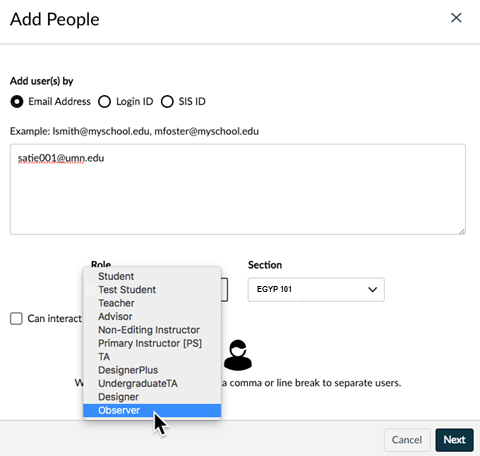 Add People window; email address option selected; Role drop-down menu with Observer highlighted