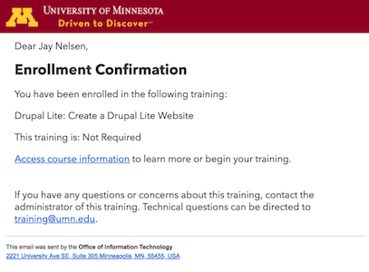 the default enrollment confirmation.