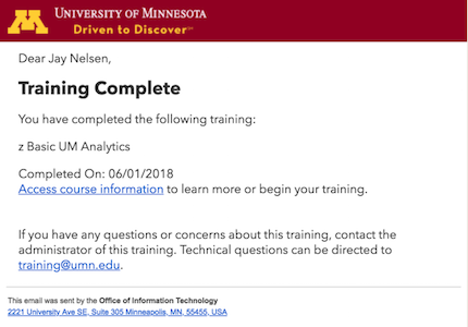 the training completion confirmation email