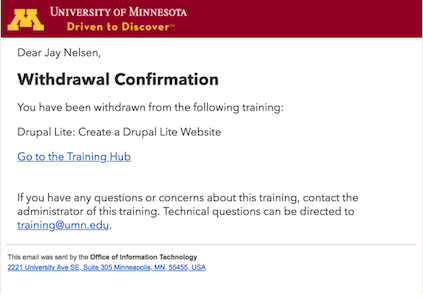 the default withdrawal confirmation email message.