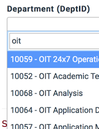 the department search with oit typed in search field.