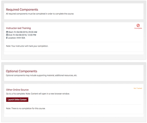 a course details page in training hub showing a required component and an optional component.