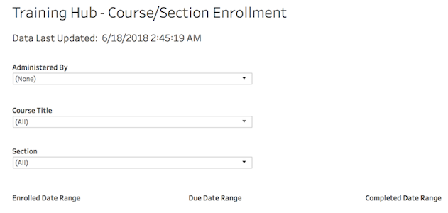 the course section enrollment report with available filters.