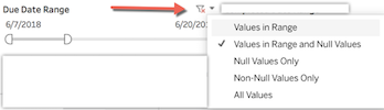 the available options in a date range filter.