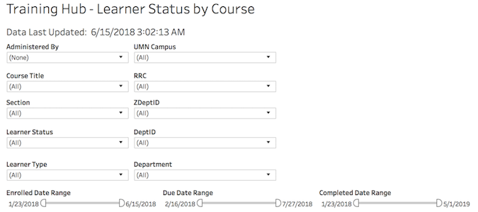 the learner status by course report showing the filters available.
