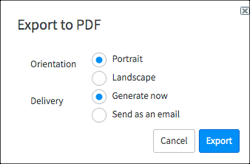 export to PDF options box showing Orientation options and Delivery options