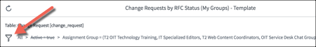 Open change request report in Configure tab with filter button highlighted