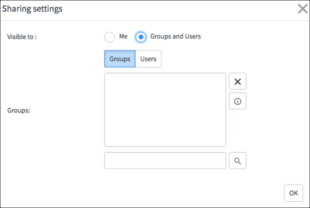The Sharing settings pop up with Groups and Users selected