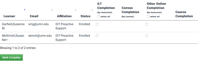 a course roster page displaying two learners and checkboxes for each to mark completion of the two components.