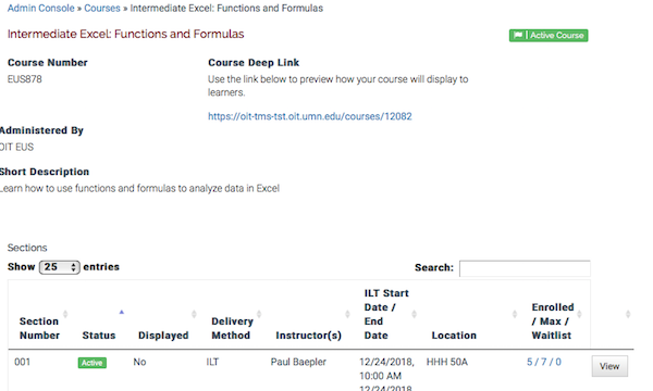 the course page showing information about the course, and a table at the bottom listing the sections for the instructor
