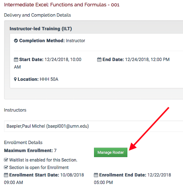 a course details page showing a button labeled manage roster