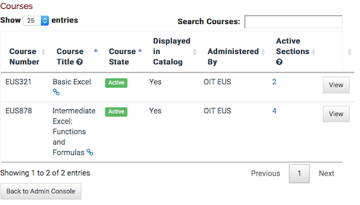 a table showing courses for the instructor. there are two courses listed.