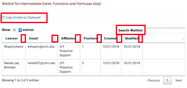 the waitlist for a section with the search box highlighted, the sort buttons on each column highlighted, and the link to copy emails to clipboard.