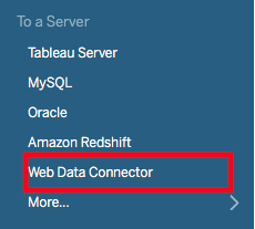 the to a server section with web data connector highlighted